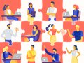 Business team puzzle. Professional people jigsaw, teamwork mosaic and office workers flat vector illustration