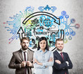 Business team and a round business sketch Royalty Free Stock Photo