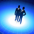 Business team silhouettes on binary background Royalty Free Stock Image