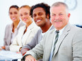 Business team smiling happily Royalty Free Stock Photo