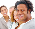 Business team - Smiling people standing in line Stock Photography