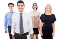 Business team standing in a row happy smiling Royalty Free Stock Image
