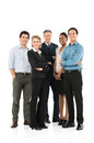Business team standing together group of happy multi racial businesspeople on white background Stock Photo