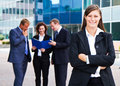 Business team successful smiling in front of the office Royalty Free Stock Photo