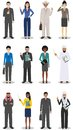 Business team and teamwork concept. Set of detailed illustration of businessmen and businesswomen standing in different