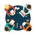 Business team top view men office meeting concept people on table vector illustration Stock Photo