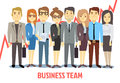 Business team vector concept with man and woman standing together. Teamwork cartoon Royalty Free Stock Photo