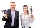 Business team  winner with a trophy Royalty Free Stock Photography
