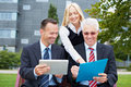 Business team working in park Royalty Free Stock Photography