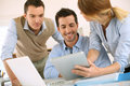 Business team working together on project presentation digital tablet Royalty Free Stock Images