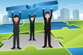 Business teamwork concept a illustration of businessmen carrying big puzzle together for Royalty Free Stock Photos