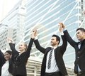 Business teamwork hands up. concept celebration success for work Royalty Free Stock Photo