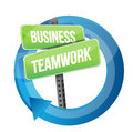 Business teamwork road sign cycle illustration design over white Royalty Free Stock Photos