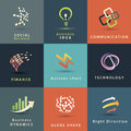 Business and technology icons set abstract Stock Images