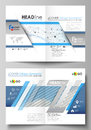 Business templates for bi fold brochure, flyer, report. Cover design template, vector layout in A4 size. Blue color