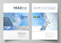 Business templates for brochure, flyer, annual report. Cover design template, vector layout in A4 size. Blue color