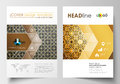 Business templates for brochure, magazine, flyer. Cover design template, flat layout in A4 size. Islamic gold pattern