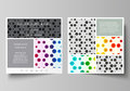 Business templates for square brochure, flyer. Leaflet cover, abstract vector layout. Chemistry pattern, hexagonal