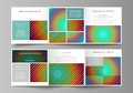 Business templates for tri fold square brochures. Leaflet cover, abstract vector layout. Minimalistic design with