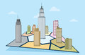 Business territory vector illustration of commercial towers on a territorial map illustrating market share Stock Image