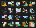 Business theme elements collection, flat icons set