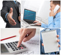 Business theme photo collage close up Royalty Free Stock Photo