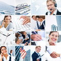 Business theme photo collage composed of different images Royalty Free Stock Photo