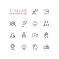 Business Training - Thin Single Line Icons Set Royalty Free Stock Photo