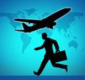 Business travel catching a flight symbol Stock Photography