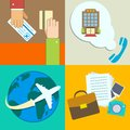 Business travel infographics icons set with hands of ticket purchase hotel booking and flight vector illustration Stock Image