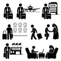 Business trip businessman travel a set of human pictogram representing a to foreign country for meeting Royalty Free Stock Image
