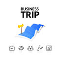 Business trip tour concept logo, long route in travel map with guide marker Royalty Free Stock Photo