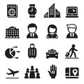 Business trip , travel, meeting , seminar icon set Royalty Free Stock Photo