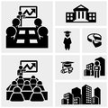 Business vector icons set on gray grey background eps file available Royalty Free Stock Image
