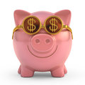 Business vision piggy bank wearing sunglasses with money sign clipping path included Royalty Free Stock Photos