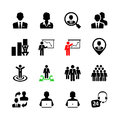 Business web icon set people human resources and management Royalty Free Stock Images