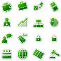 Business web icons, green sticker series Royalty Free Stock Photography