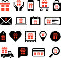 Business web icons with presents illustrated set of different or gifts Stock Images