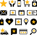 Business web icons with stars illustrated set of different on white background Royalty Free Stock Photography