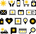 Business web icons with sun illustrated set of sunshine symbols white background Royalty Free Stock Images