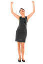 Business woman with arms up successful isolated over white Royalty Free Stock Photos
