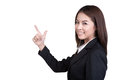 Business woman attractive direct wag suit isolated in Stock Photo