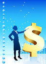 Business woman on background  financial charts Royalty Free Stock Photography