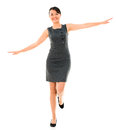 Business woman balancing happy isolated over a white background Royalty Free Stock Photos