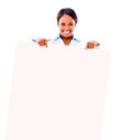 Business woman with a banner Royalty Free Stock Photo