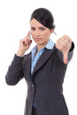 Business woman being negative on phone Stock Image