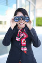 Business Woman with Binoculars Royalty Free Stock Photo