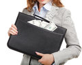 Business woman with black briefcase Royalty Free Stock Image