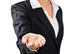 Business woman in black suit open palm hand. Royalty Free Stock Photo
