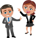 Business woman blaming her colleague cartoon meg man bob who is trying to keep calm isolated on white background you Royalty Free Stock Images